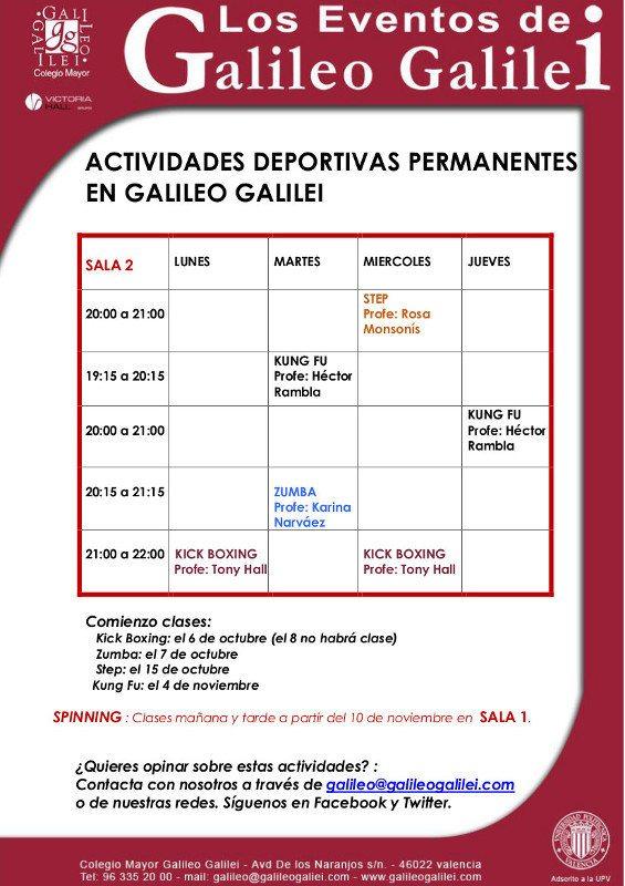 Calendario Actividades Colegio Mayor Galileo de Valencia