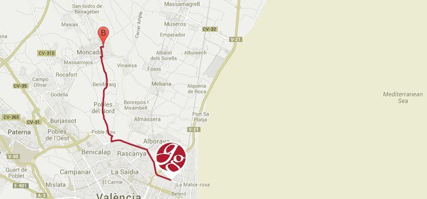 Colegio Mayor Valencia Galileo Galilei, trayecto Ceu